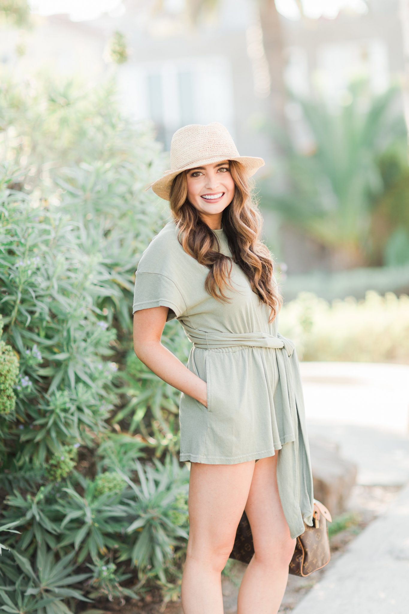 Maxie Elle - Free people olive romper with straw hat