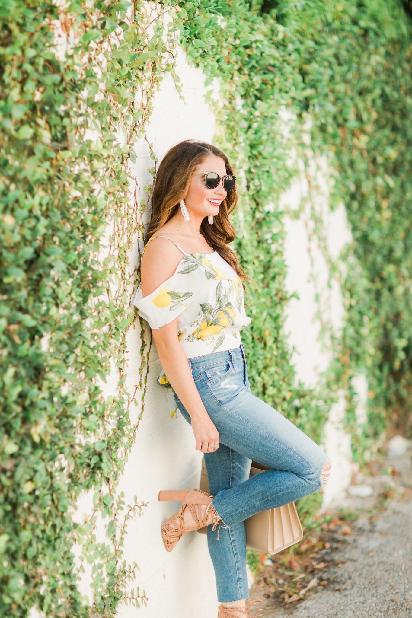 Maxie Elle | Lemon cold shoulder top