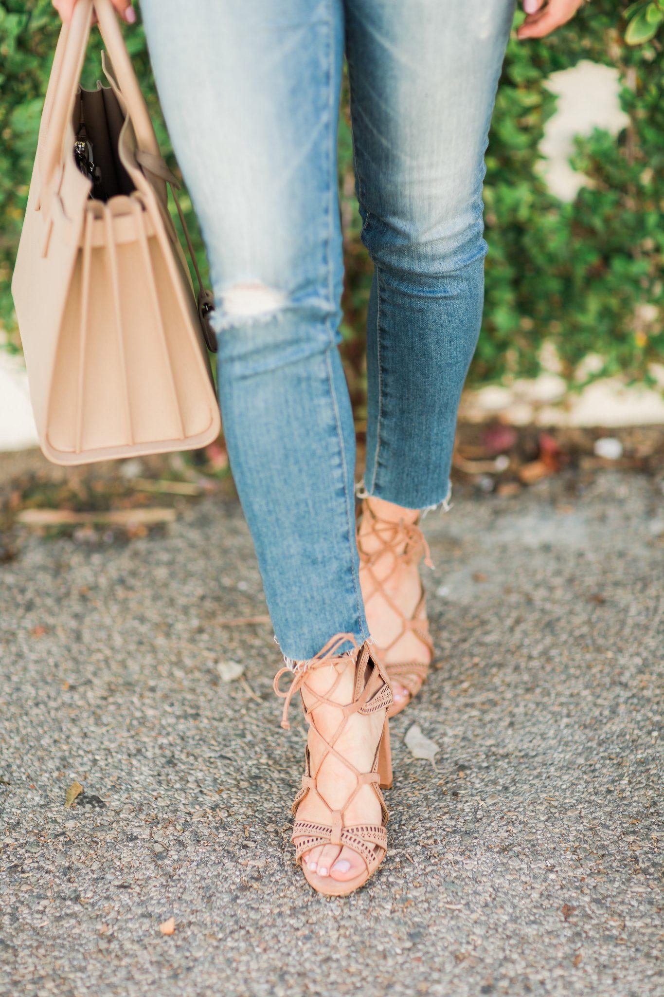 Maxie Elle | tan lace up sandals
