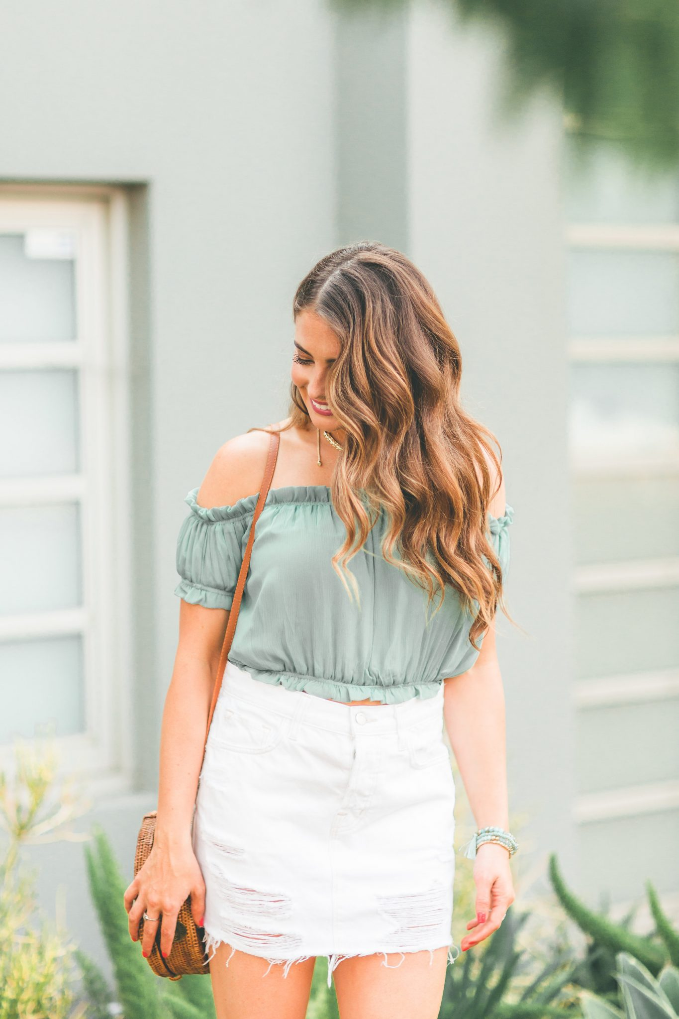 The Perfect White Denim Skirt featured by popular Orange County fashion blogger, Maxie Elle