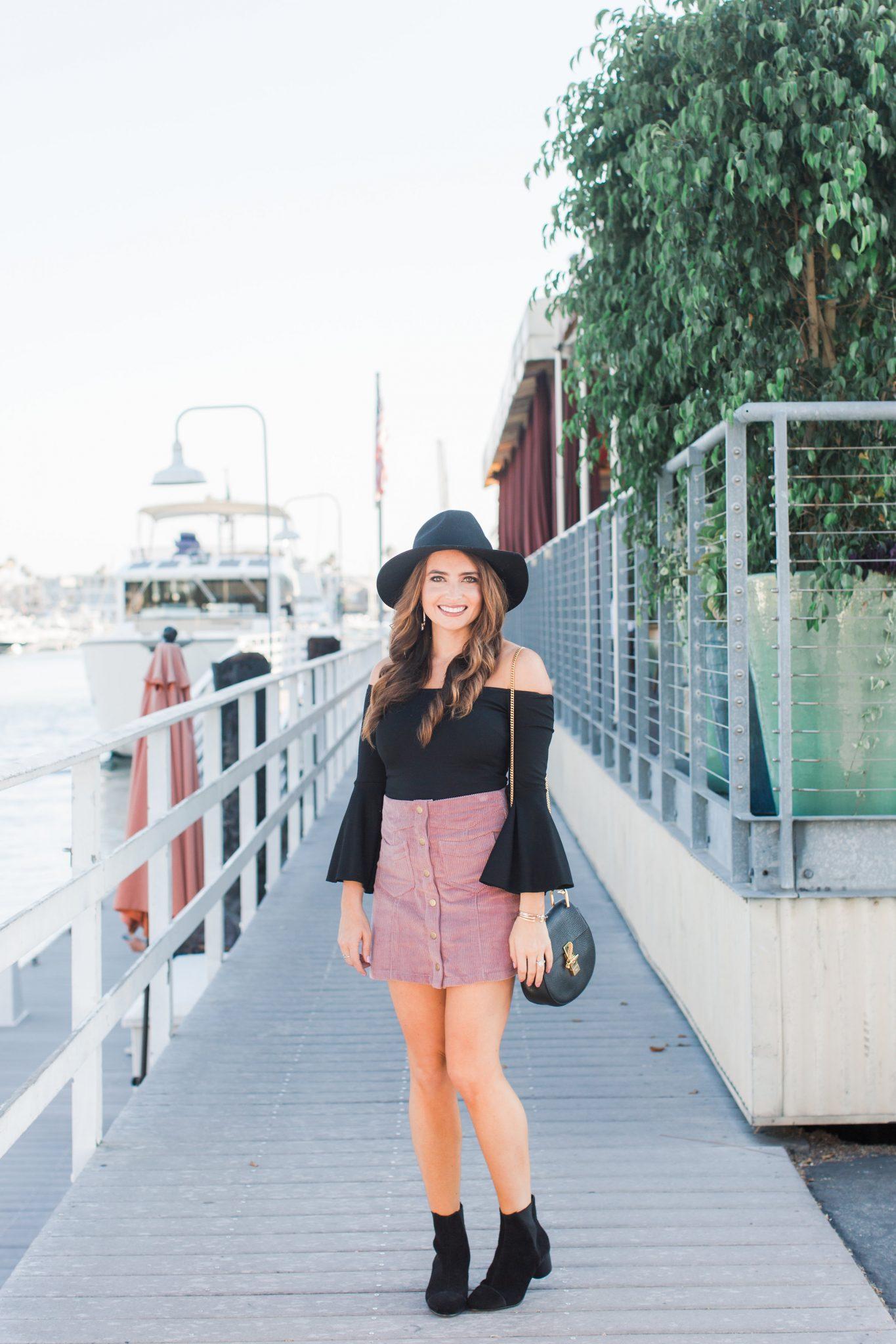 Maxie Elle | Corduroy Mini skirt styled by popular Orange County fashion blogger, Maxie Elle