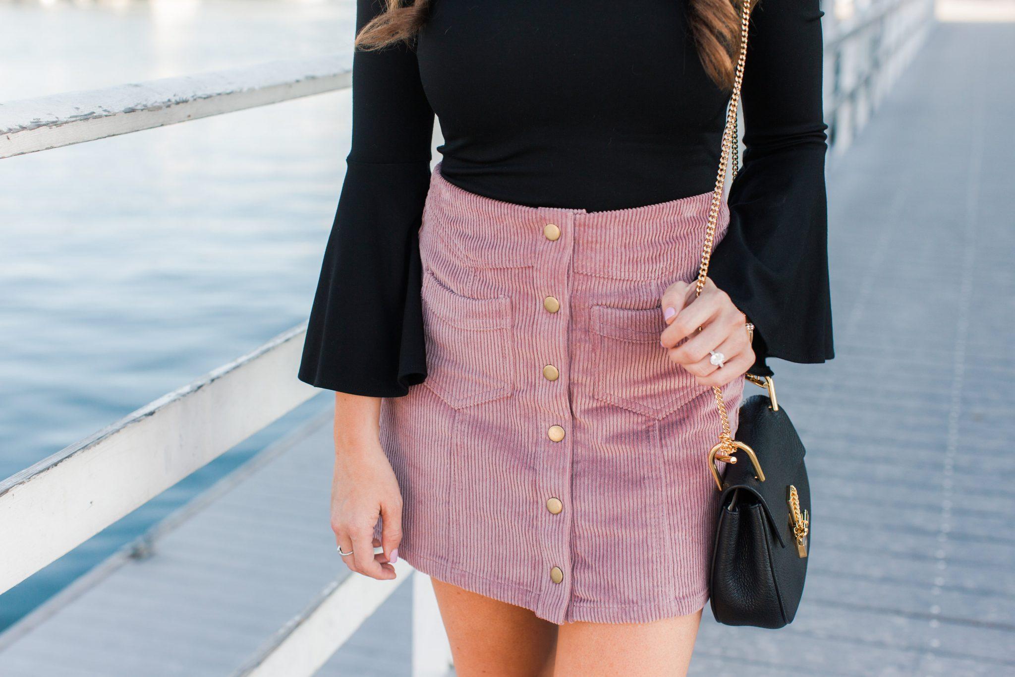 Corduroy Mini skirt styled by popular Orange County fashion blogger, Maxie Elle