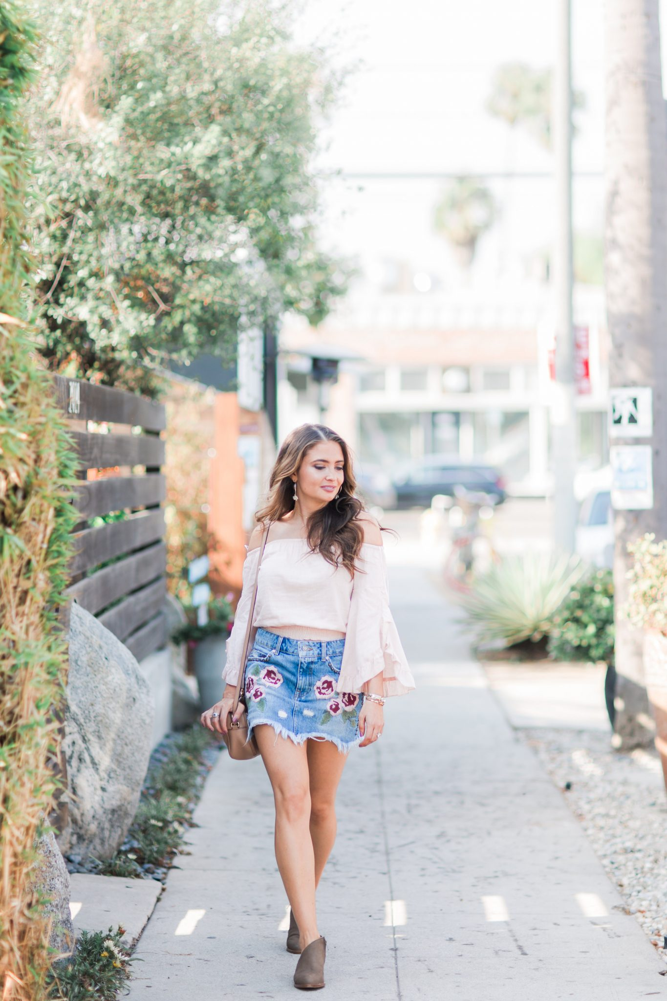Maxie Elle | Embroidered Denim Skirt - Embroidered Denim featured by popular Orange County fashion blogger, Maxie Elle