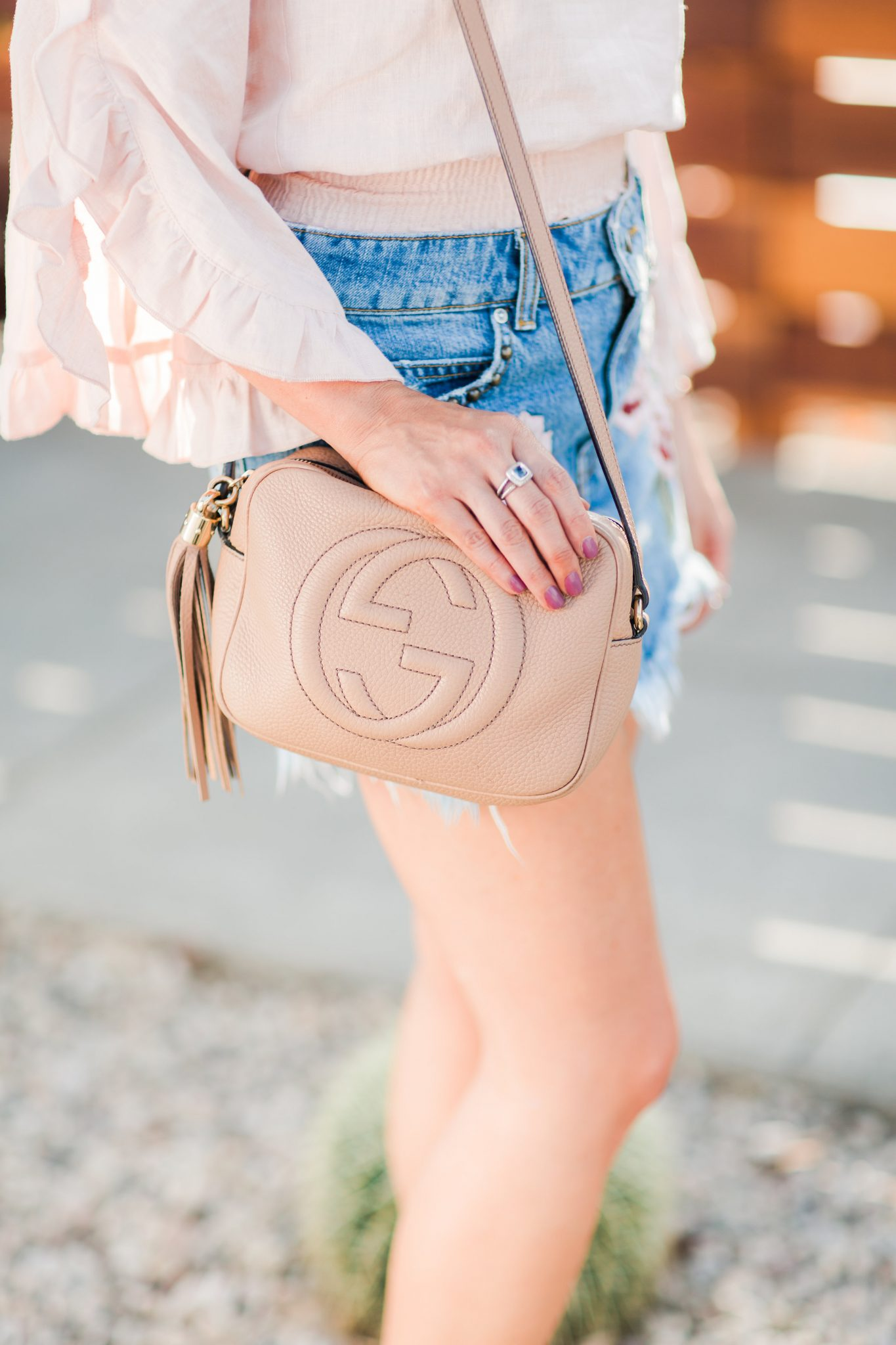 Maxie Elle | Gucci Soho Disco Bag - Embroidered Denim featured by popular Orange County fashion blogger, Maxie Elle