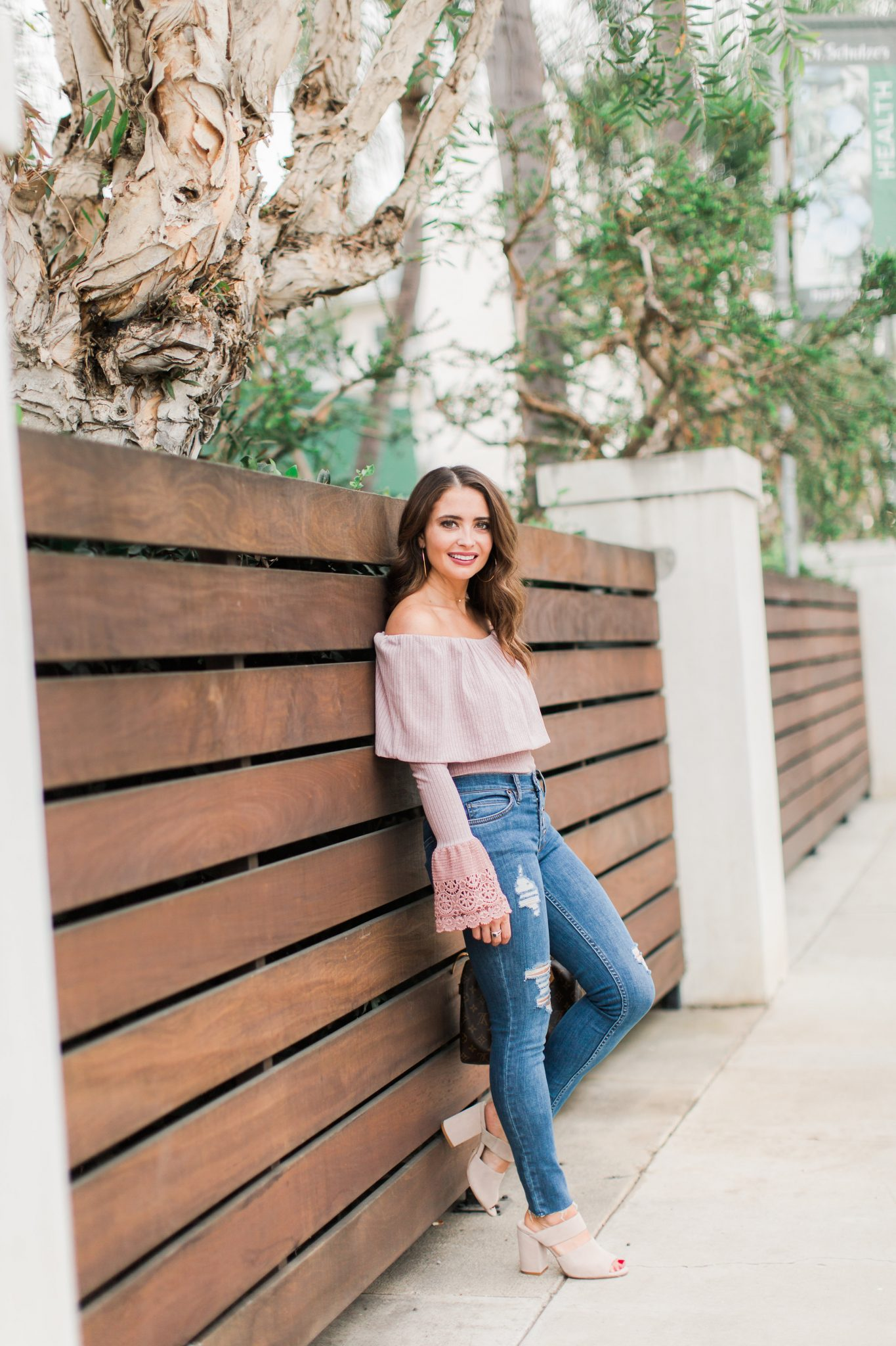 Pink Off The Shoulder Top by popular Orange County fashion blogger Maxie Elle