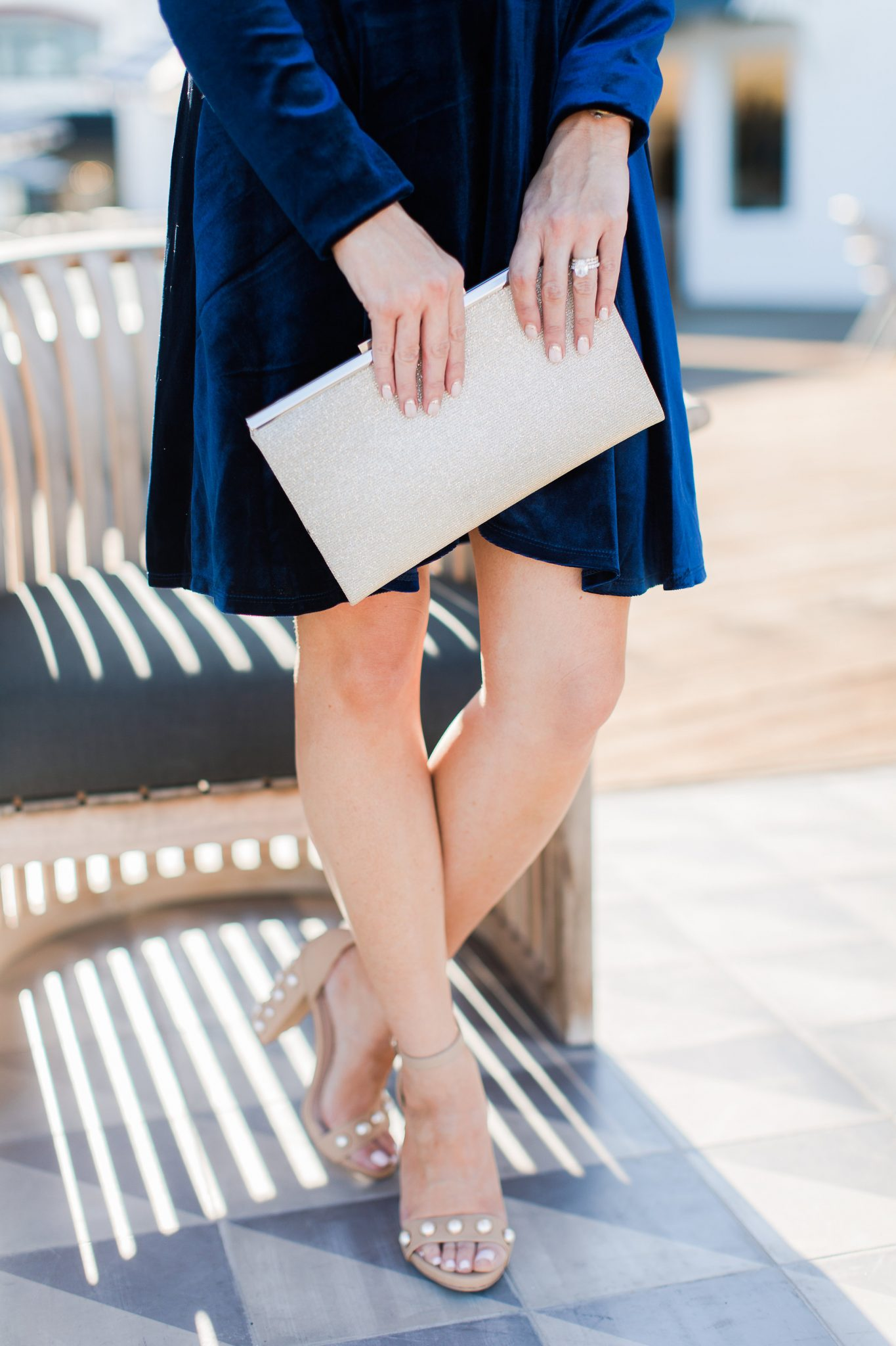 Maxie Elle   Blue velvet dress - Holiday Style With Red Dress Boutique by popular Orange County fashion blogger Maxie Elle