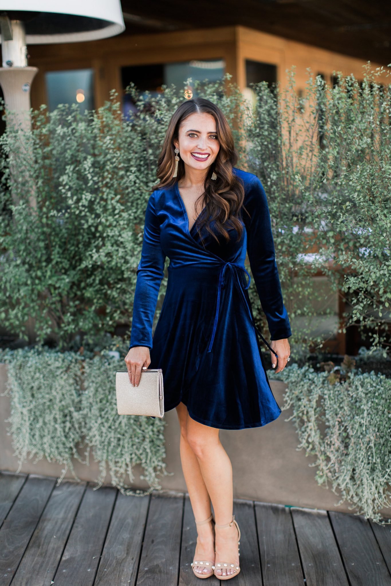 Maxie Elle | Blue velvet dress - Holiday Style With Red Dress Boutique by popular Orange County fashion blogger Maxie Elle