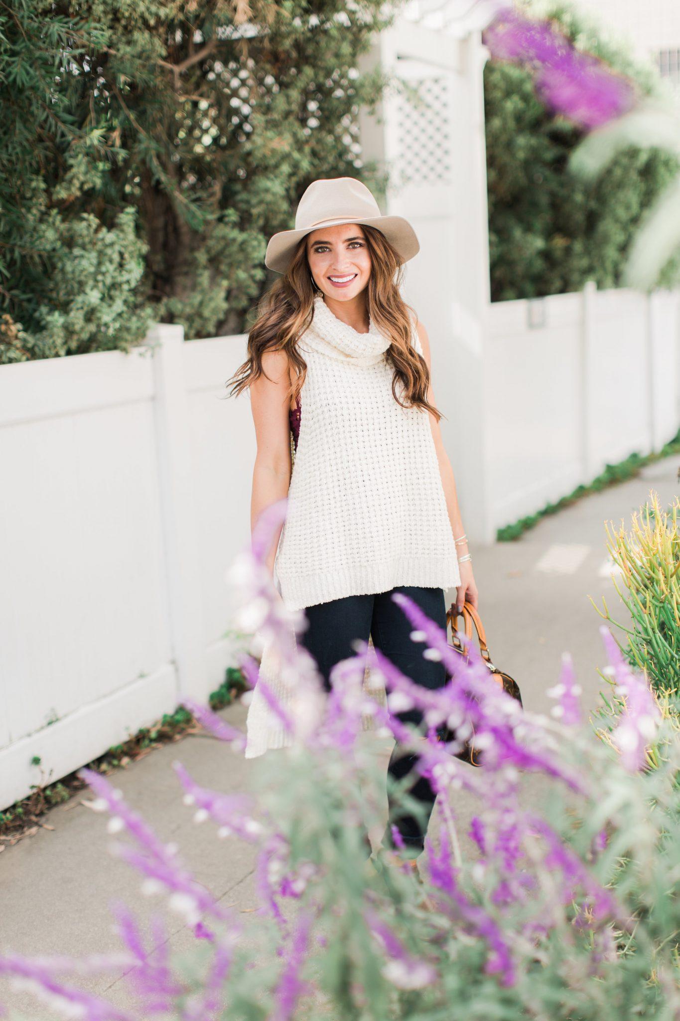 Fall Style - sleeveless turtleneck, distressed denim, tan hat   Maxie Elle - Fall Layering Top by popular Orange County fashion blogger Maxie Elle