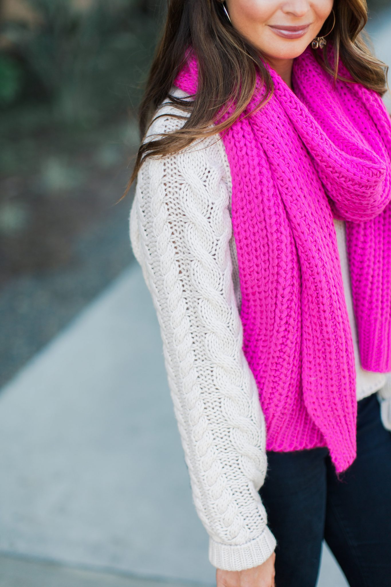 Hot Pink Scarf, Tan Sweater, Louis Vuitton- ASOS Sale top picks featured by popular Orange County fashion blogger, Maxie Elle