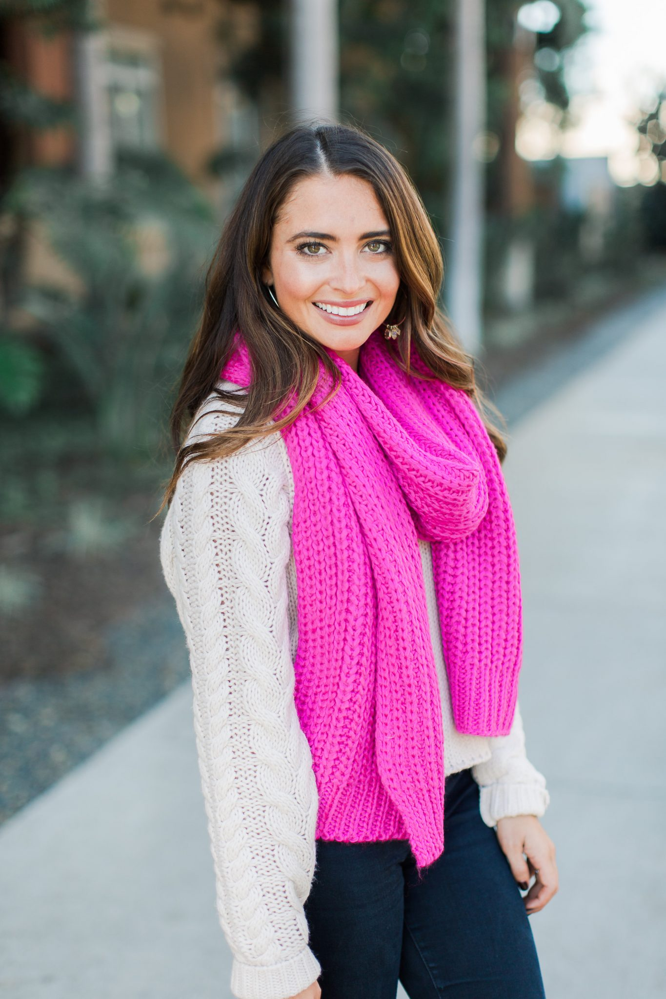 Hot Pink Scarf, Tan Sweater, Louis Vuitton - ASOS Sale top picks featured by popular Orange County fashion blogger, Maxie Elle