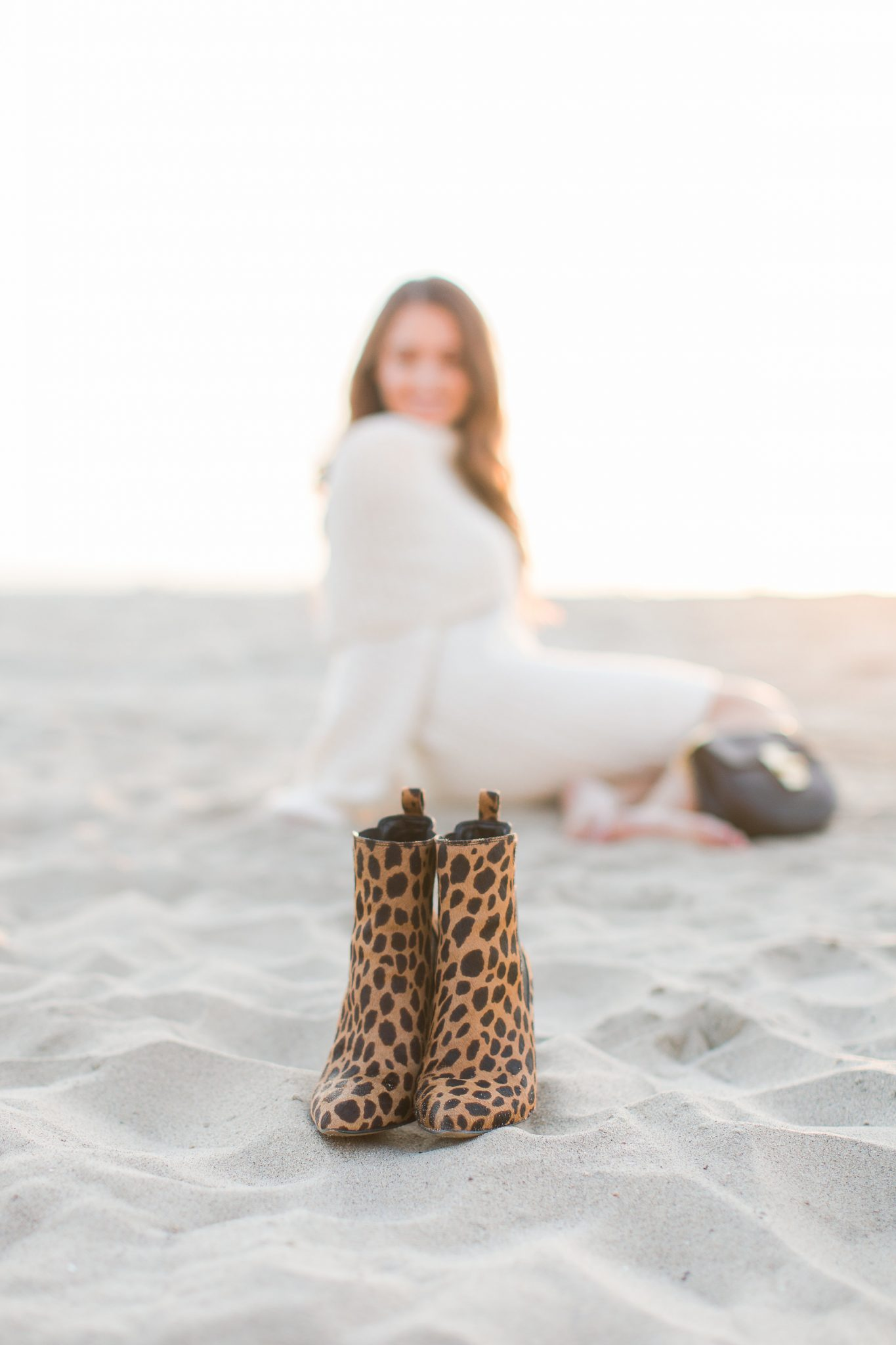 Sweater Dress with Leopard Booties - Holiday Cream Sweater Dress with The Mint Julep Boutique by popular Orange County fashion blogger Maxie Elle