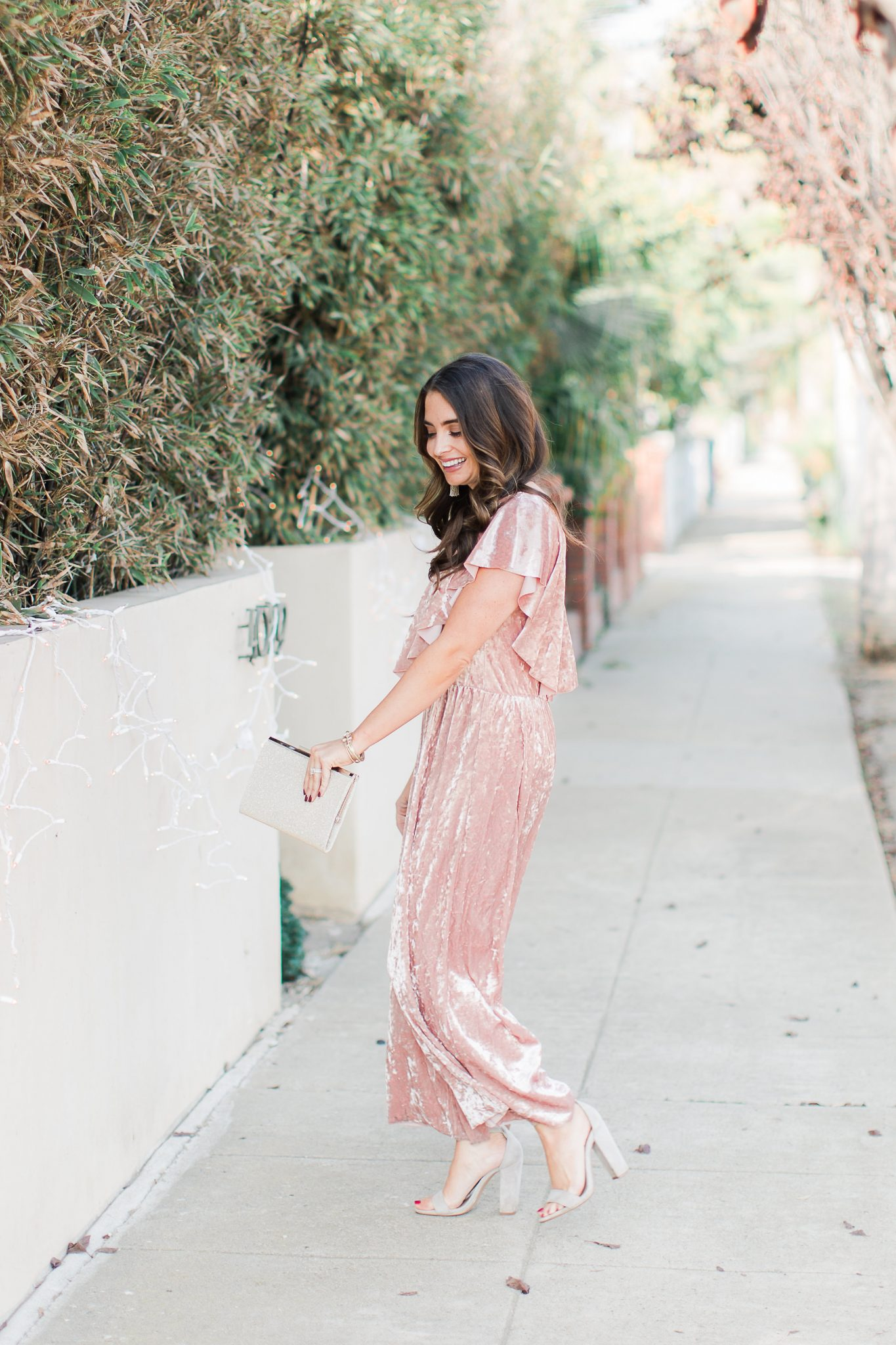 Maxie Elle | Blush velvet jumpsuit