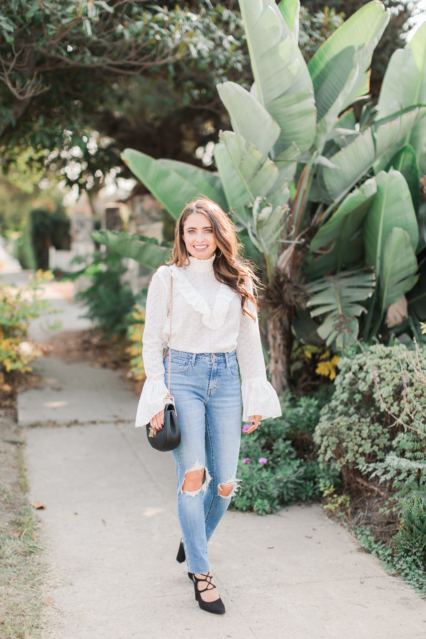 Maxie Elle | White lace top & distressed denim - Shopbop Sale Spring Picks featured by popular Orange County fashion blogger, Maxie Elle