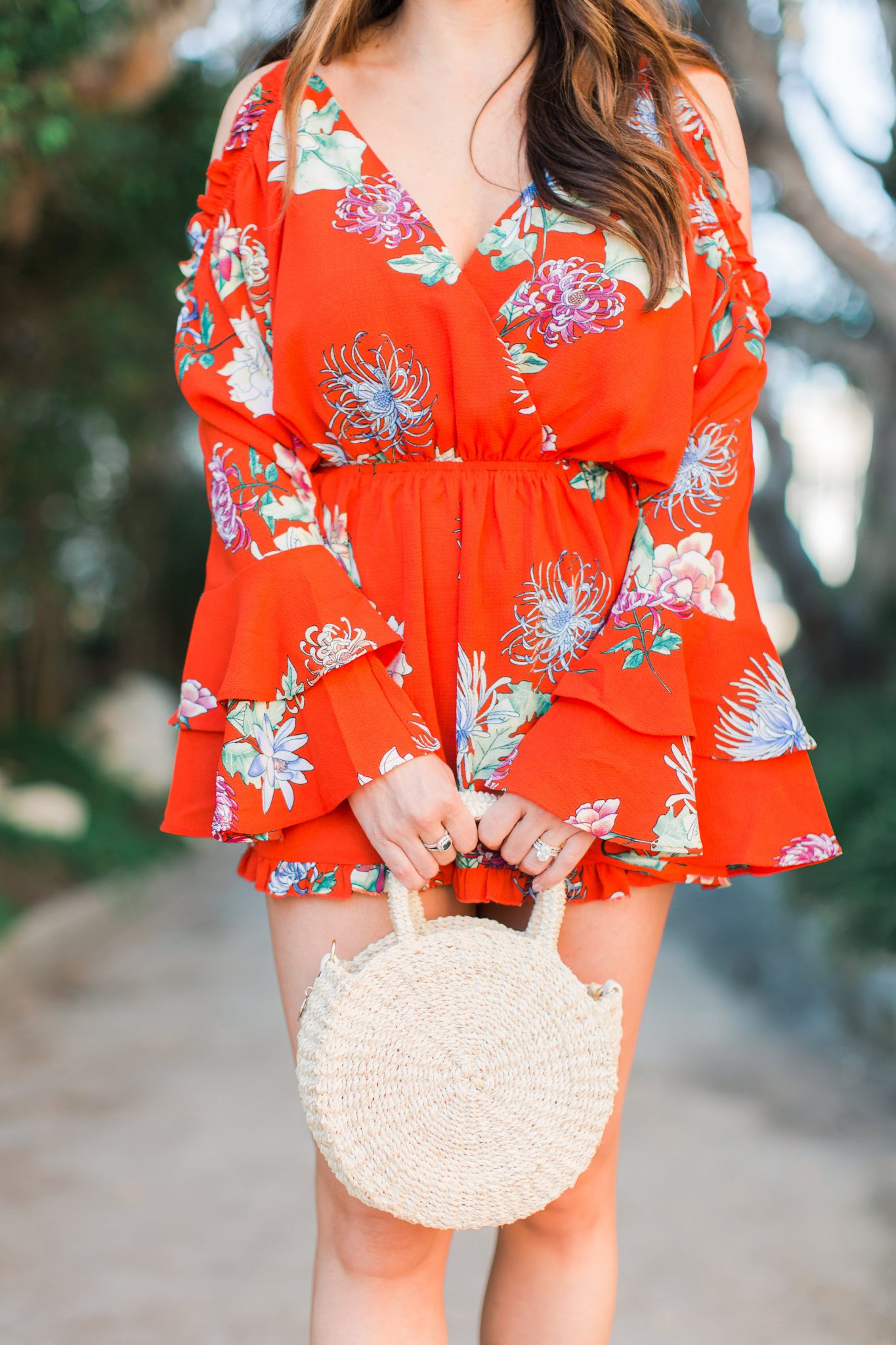 red floral romper and Clare V Petite Alice bag - 3 Ways to Incorporate Florals Into Your Spring Wardrobe featured by popular Orange County fashion blogger, Maxie Elle