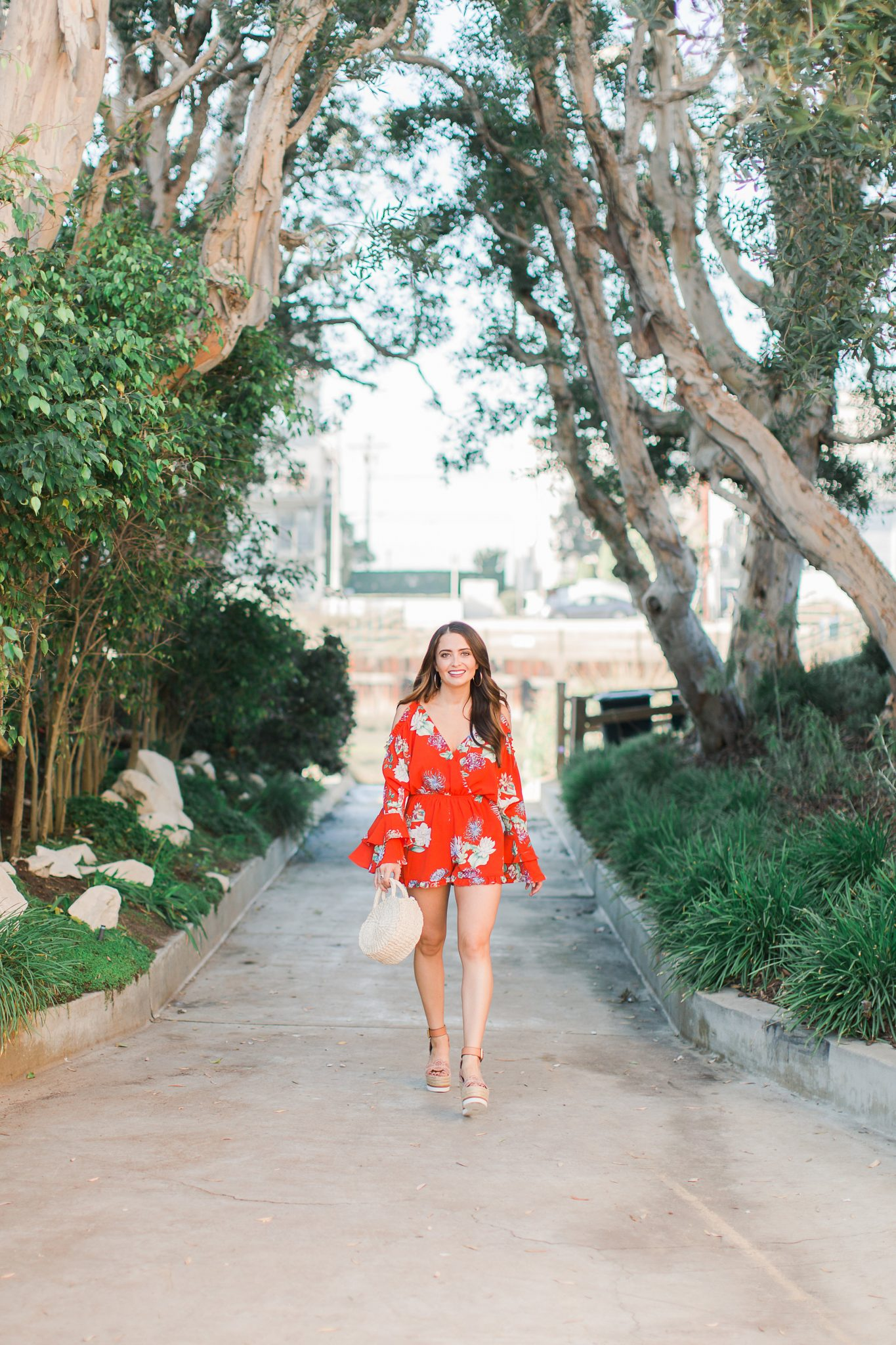 red floral romper - 3 Ways to Incorporate Florals Into Your Spring Wardrobe featured by popular Orange County fashion blogger, Maxie Elle