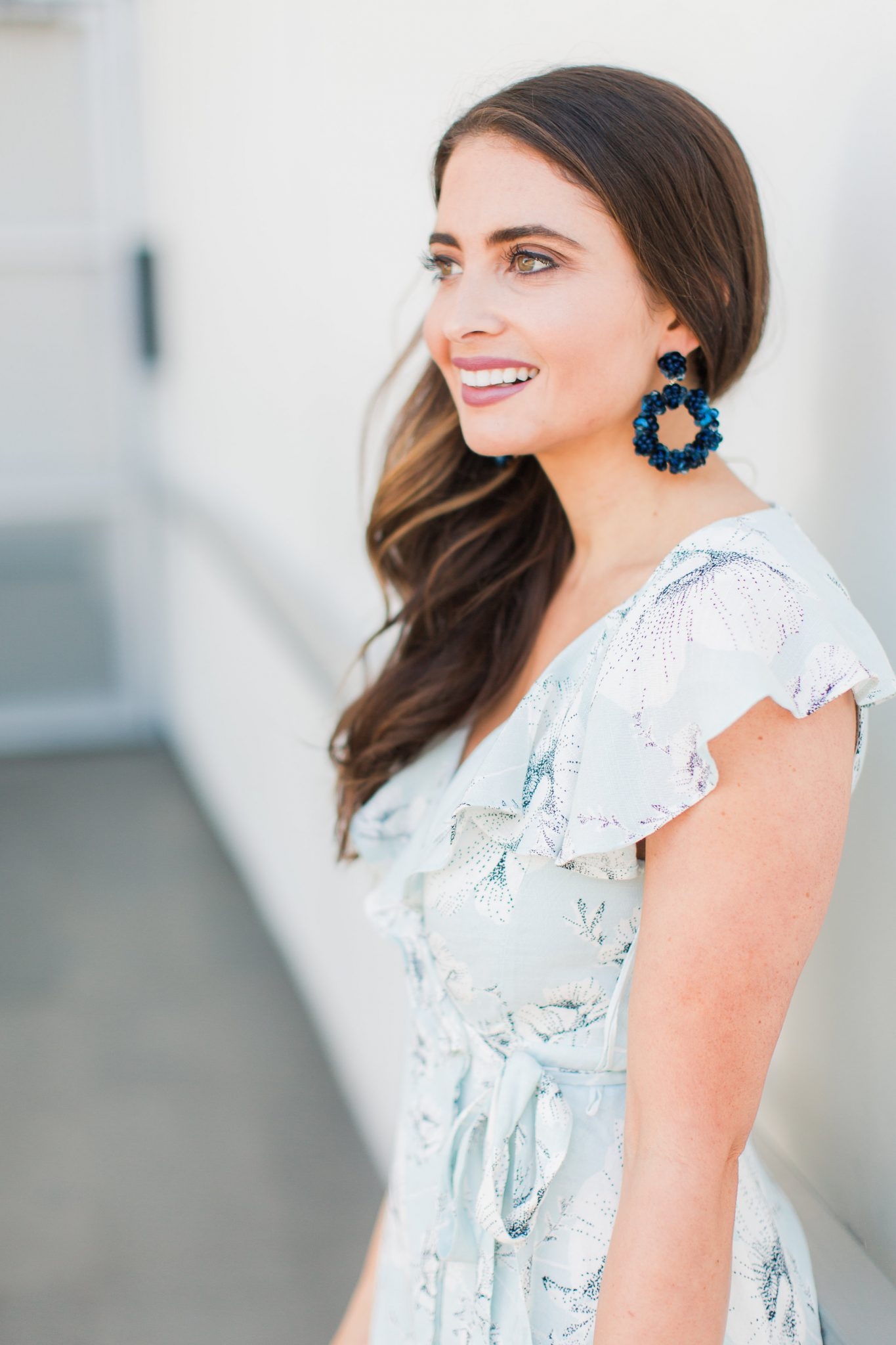 Blue floral dress and navy earrings - Baublebar Earrings Sale Favorites by popular Orange County fashion blogger Maxie Elle