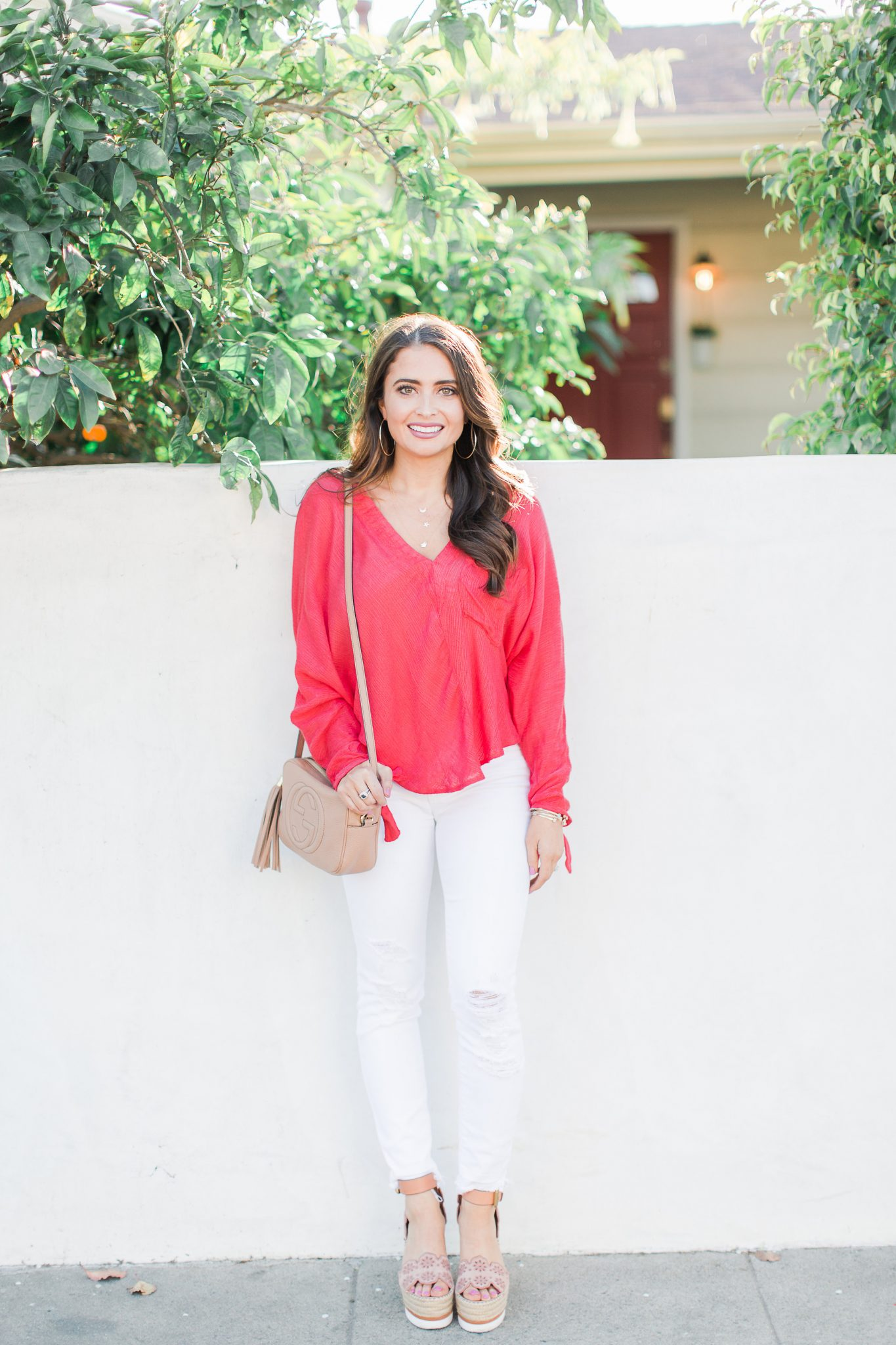Hot pink Free People Top and White J Brand Jeans and Gucci Bag - Shopbop Sale Spring Picks featured by popular Orange County fashion blogger, Maxie Elle