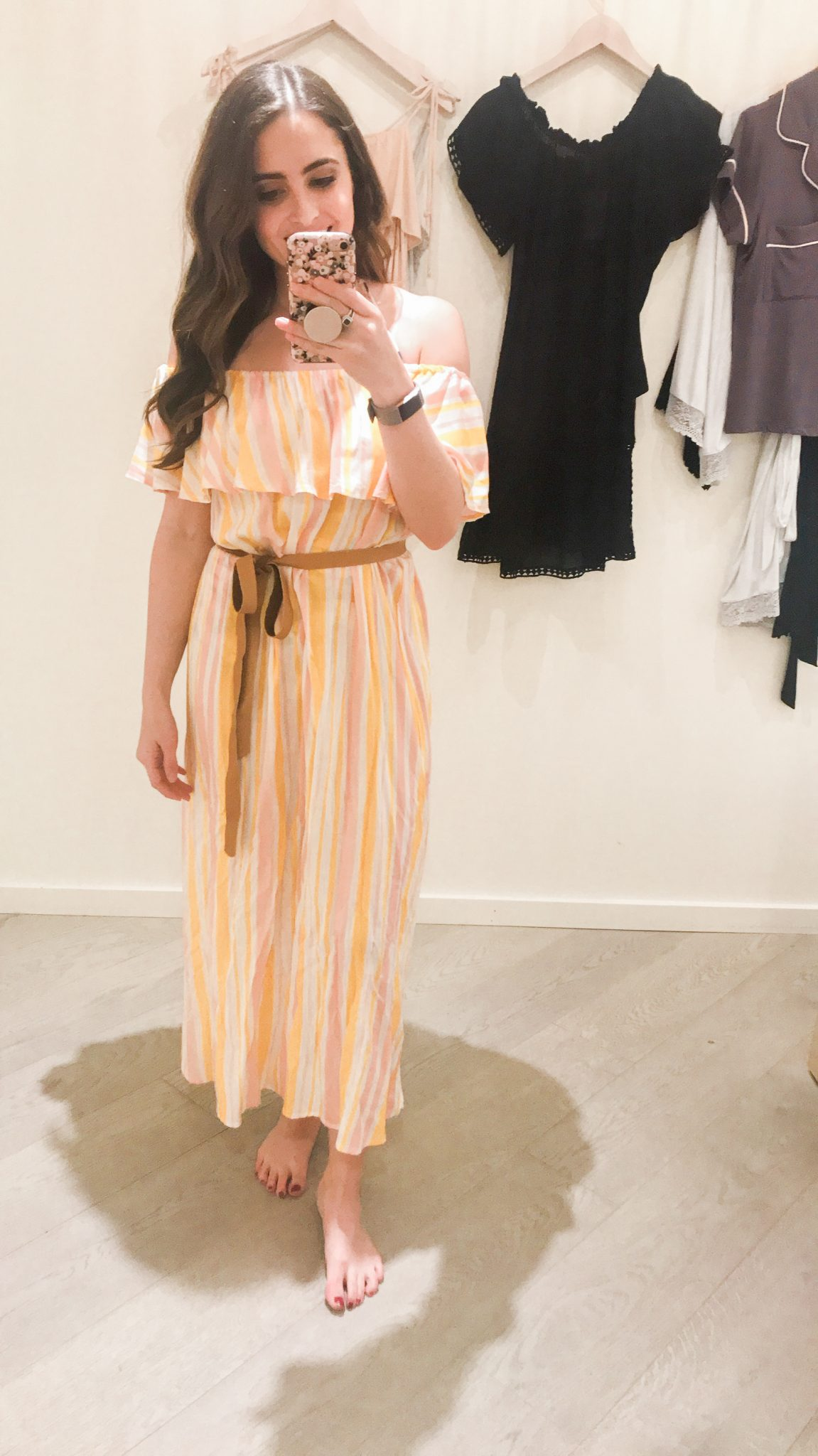 Eberjey yellow and pink striped maxi dress - Shopbop Sale Spring Picks featured by popular Orange County fashion blogger, Maxie Elle
