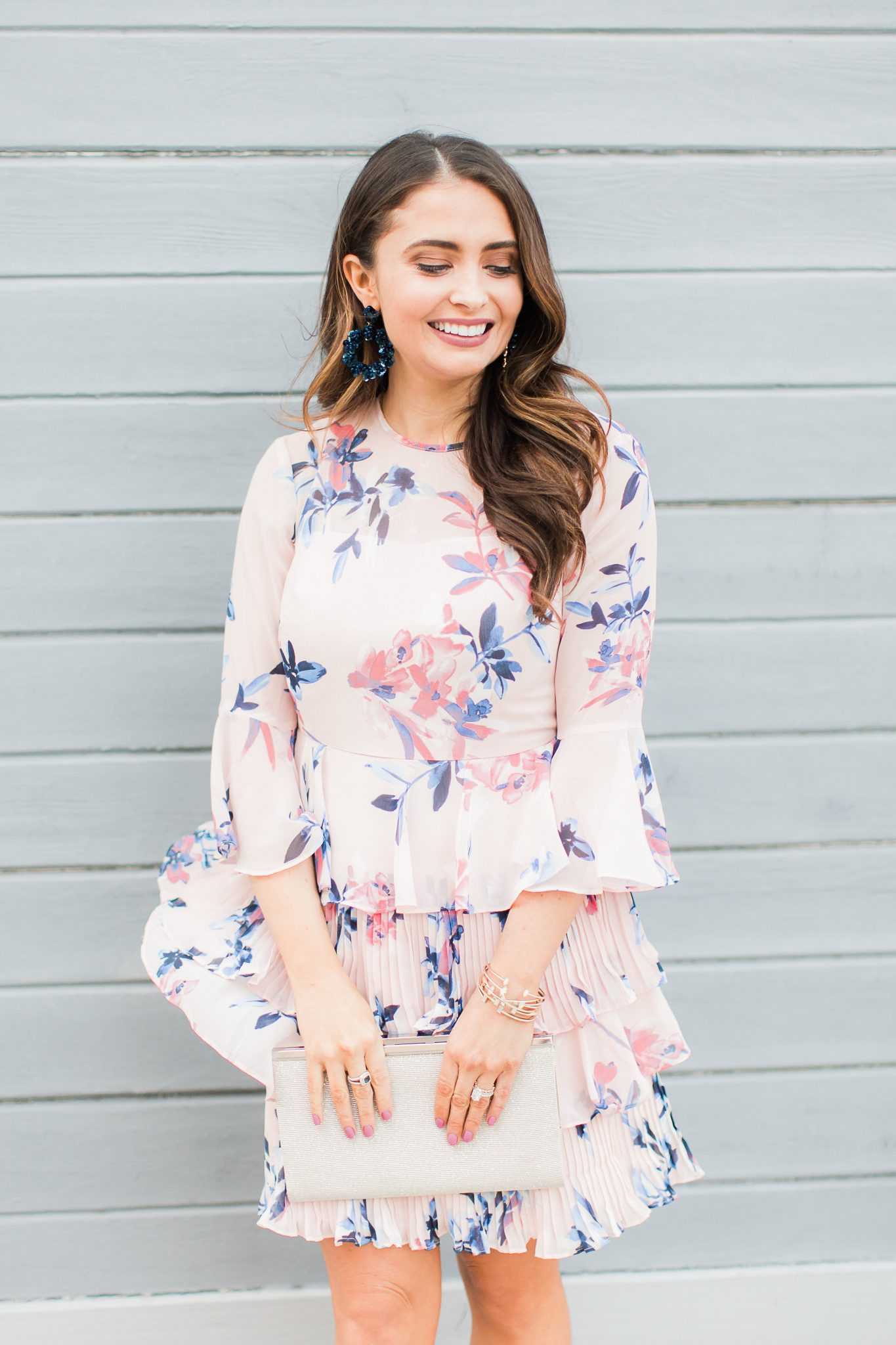Pink floral dress with ruffles - Baublebar Earrings Sale Favorites by popular Orange County fashion blogger Maxie Elle