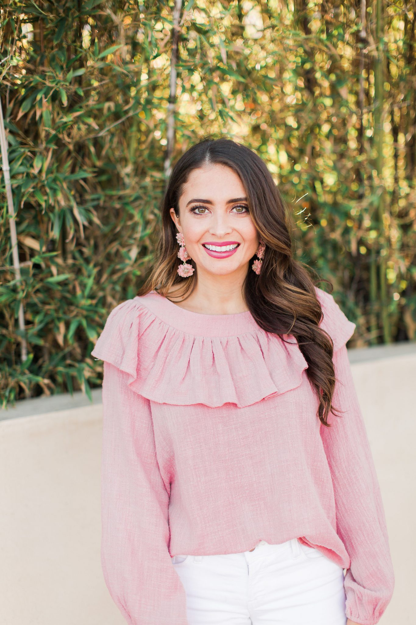 Pink ruffle top and flower earrings - Baublebar Earrings Sale Favorites by popular Orange County fashion blogger Maxie Elle