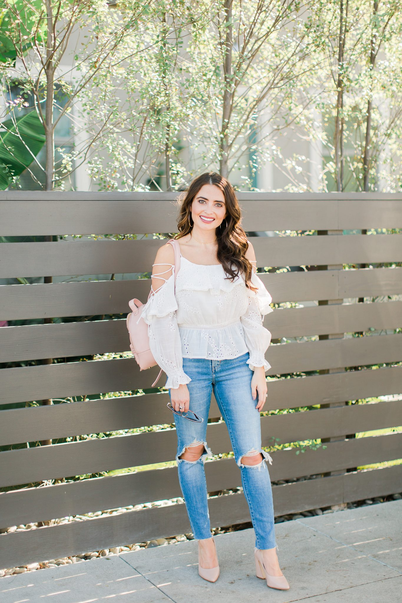 White eyelet top and Levi's jeans - Shopbop Sale Spring Picks featured by popular Orange County fashion blogger, Maxie Elle